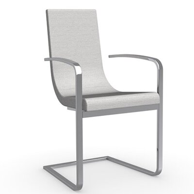 Cruiser Cantilever Upholstered Dining Chair Frame Color: Satin Finished Steel, Upholstery Color: Denver Sand
