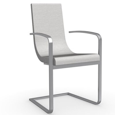 Cruiser Cantilever Arm Chair Frame Finish: Satin Finished Steel, Upholstery: Fabric - Denver Sand