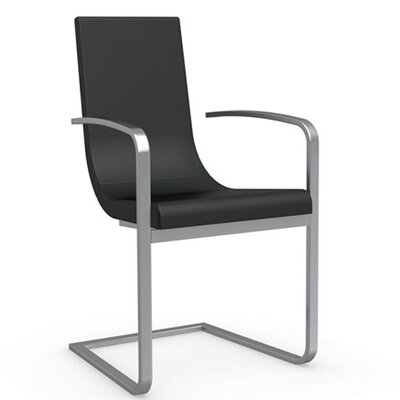 Cruiser Cantilever Upholstered Dining Chair Frame Color: Satin Finished Steel, Upholstery Color: Denver Anthracite