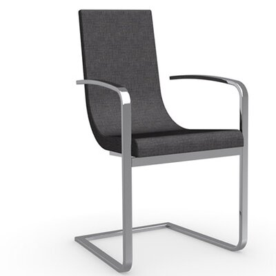 Cruiser Cantilever Upholstered Dining Chair Frame Color: Chromed, Upholstery Color: New Delhi Dark Grey