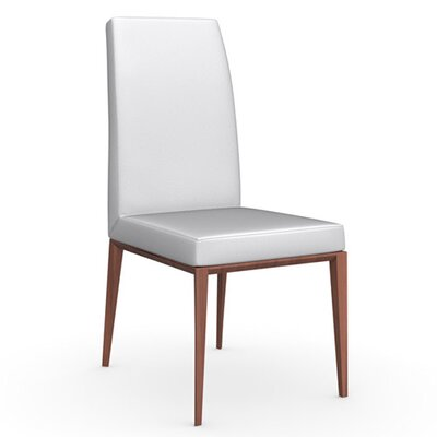 Bess Chair Upholstery: Leather - Optic White, Finish: Walnut