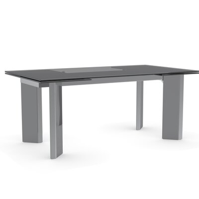 Tower Extendable Dining Table Color: Smoked Grey, Leg Finish: Walnut