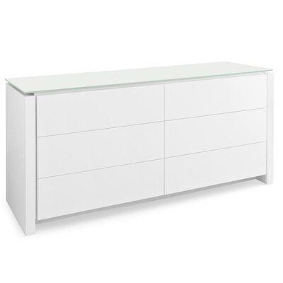 Mag 6 Drawer Double Dresser Base Color: Matte Optic White, Glass Color: Frosted Coffee