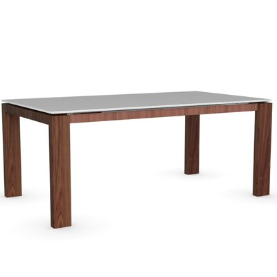 Sigma Glass Extendable Table Frame Finish Walnut Color Frosted Acid Etched Extra White Leg Finish Frosted Acid Etched Extra White