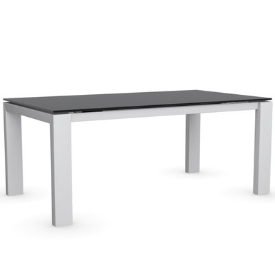 Sigma Glass Extendable Table Color Frosted Acid Etched Black Frame Finish Matte Optic White Leg Finish Frosted Acid Etched Black