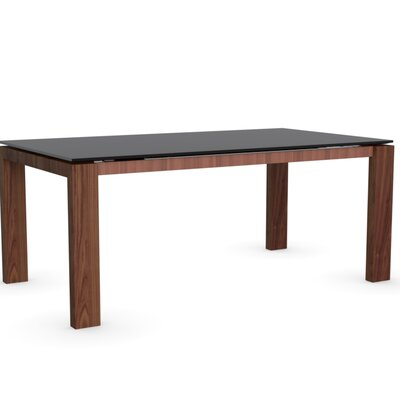 Sigma Glass Extendable Table Color Frosted Acid Etched Black Frame Finish Walnut Leg Finish Frosted Acid Etched Black