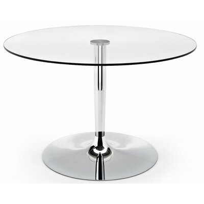 Planet Glass Dining Table Frame Finish: Chromed, Color: Transparent, Leg Finish: Chromed