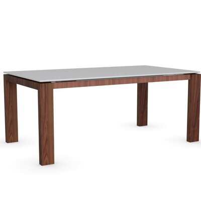 Sigma Glass Extendable Table Frame Finish Walnut Color Frosted Extra White Leg Finish Frosted Extra White