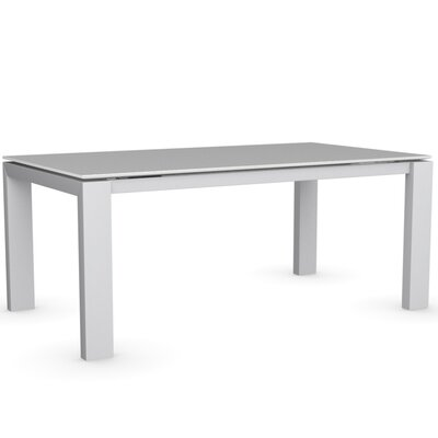 Sigma Glass Extendable Table Frame Finish Matte Optic White Color Frosted Acid Etched Extra White Leg Finish Frosted Acid Etched Extra White