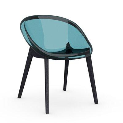 Bloom Slant Leg Chair Frame Finish: Graphite, Upholstery: Transparent Aquamarine