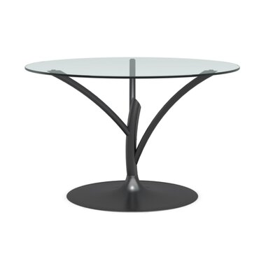 "Acacia Small Fixed Dining Table Base Color: Matte Black, Top Color: Transparent, Size: 29.38"" H X 55.13"" W X 55.13"" L"