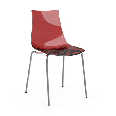 Ice Side Chair Frame Finish: Chromed, Upholstery: Transparent Red
