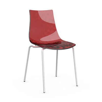 Ice Side Chair Upholstery: Transparent Red, Frame Finish: Matte Optic White