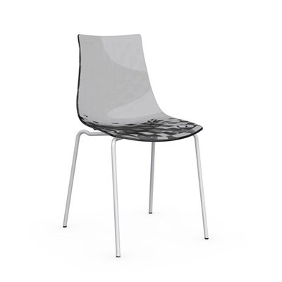 Ice Side Chair Upholstery: Transparent Smoked Grey, Frame Finish: Matte Optic White