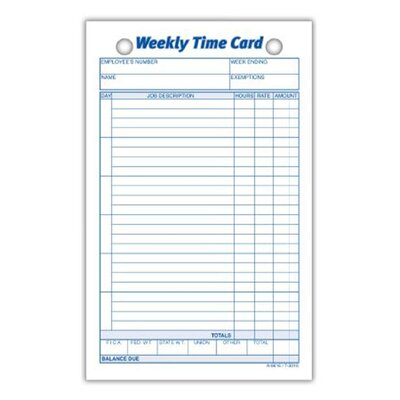 Index Bristol Weekly Time Card (Set of 30)