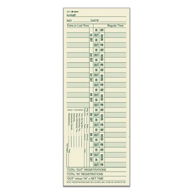 2 Sided Bi Weekly Time Card (Set of 8)