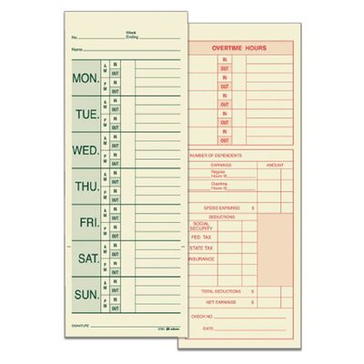 2 Sided Named Days Weekly Time Card (Set of 8)
