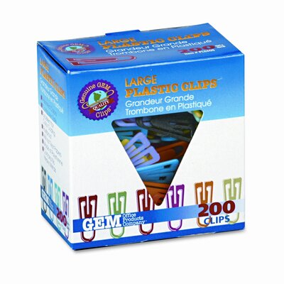 Gem Paper Clips, Plastic, Large (1-3/8), 200/ Box (Set of 2)