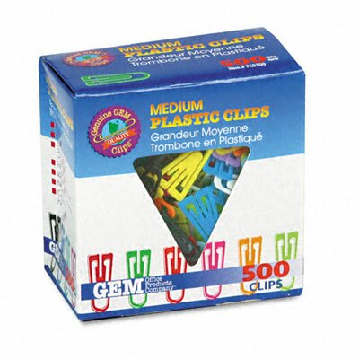 Gem Paper Clips, Plastic, Medium Size, 500/Box