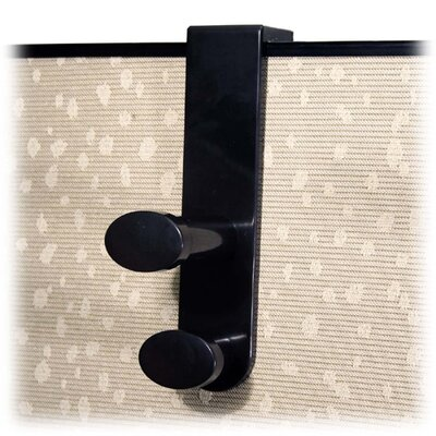 Garment Hook, Plastic, Double Hook, 1-7/8x3-1/4x7-3/4, Black
