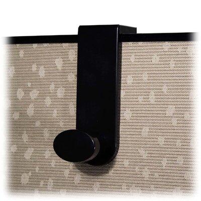 Single Garment Hook, Plastic, Fits 1-3/16 to 4-1/16 Panel, Black