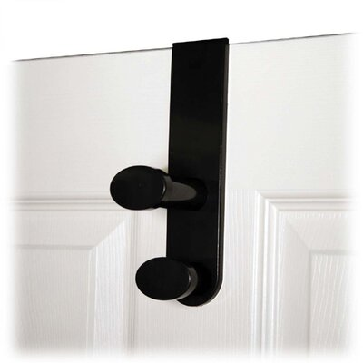 Double Garment Hook, Plastic, Fits 1-3/4 Doors, Black