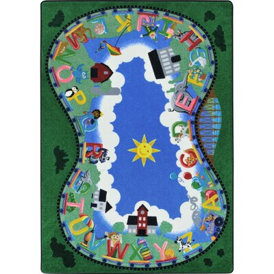 Alphabet Railway Blue/Green Area Rug Rug Size: 54 x 78