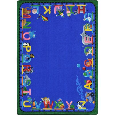 Choo Choo Letters Blue Indoor Area Rug Rug Size: Rectangle 78 x 109