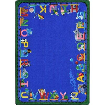 Choo Choo Letters Blue Indoor Area Rug Rug Size: 78 x 109