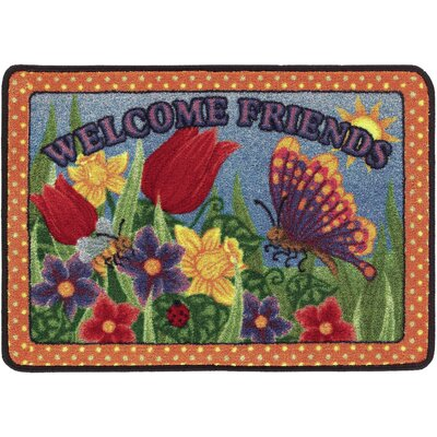 Welcome Friends Orange/Red Doormat