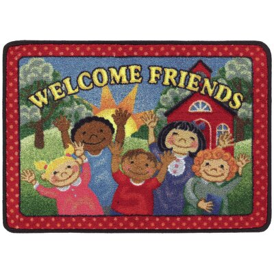 Welcome Friends Red/Green Doormat