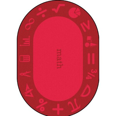 Steam Red Area Rug Rug Size: Oval 109 x 132