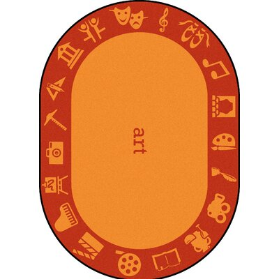 Steam Orange Area Rug Rug Size: Oval 54 x 78