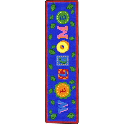 Alphabet Leaves Blue Area Rug Rug Size: 54 x 78