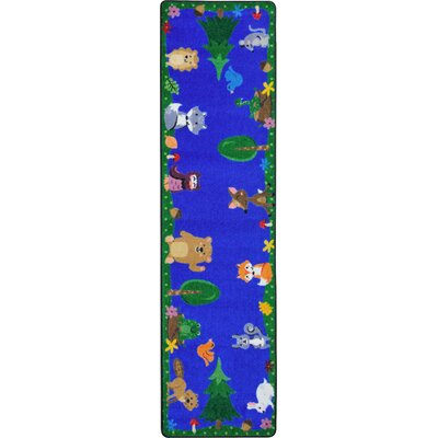 Animals Among Us Blue/Green Area Rug Rug Size: 28 x 3 10