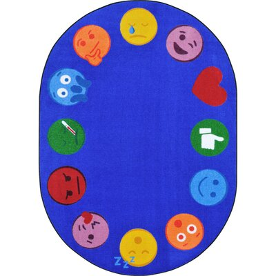 Emoji Edge Blue Area Rug Rug Size: Rectangle 78 x 109