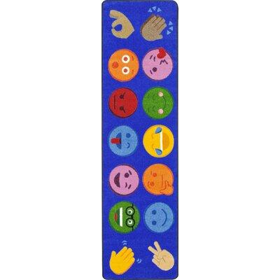 Emoji Expressions Blue Area Rug Rug Size: 54 x 78