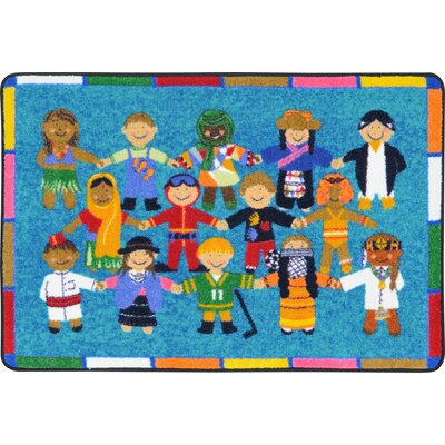 Hands Around the World Aqua Area Rug Rug Size: 28 x 3 10
