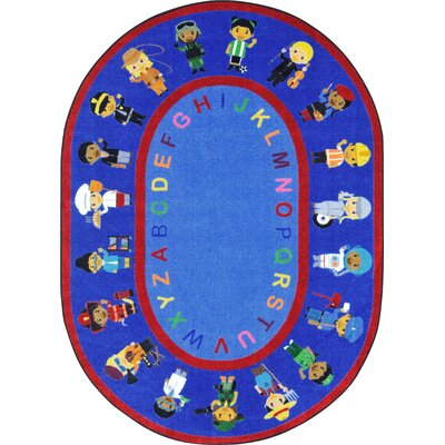 We Work Together Blue/Red Area Rug Rug Size: Oval 54 x 78