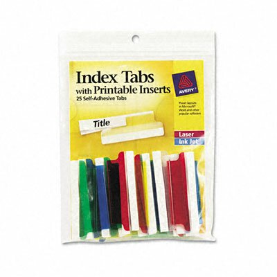 Self-Adhesive Tabs with White Printable Inserts, Two Inch, 25/Pack