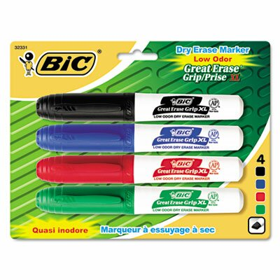 Great Erase Grip Dry Erase Chisel Tip Markers (4 Pack) (Set of 2) BICGDEMP41ASST