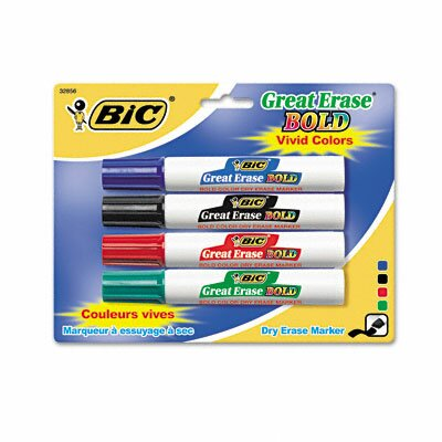 Great Erase Bold Dry Erase Chisel Tip Markers (4/Pack) (Set of 2) BICDECP41ASST