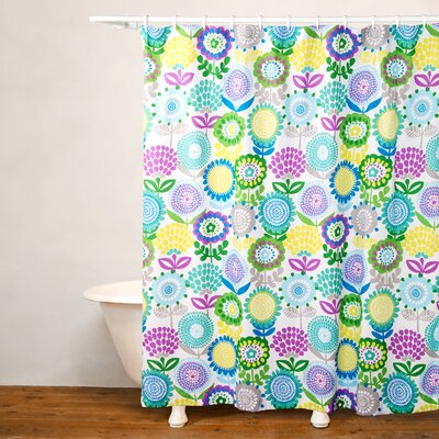 Pointillist Pansy Shower Curtain