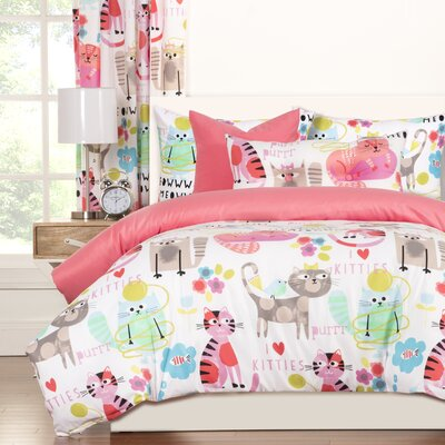 Crayola Purrty Cat Reversible Duvet Cover Set Size: Queen