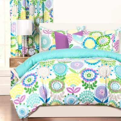Crayola Pointillist Pansy Duvet Cover Set Size: King