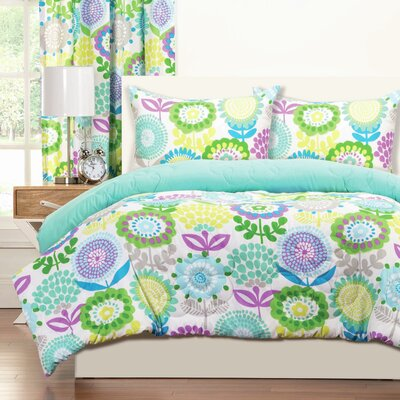 Crayola Pointillist Pansy Comforter Set Size: Full/Queen