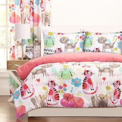 Crayola Purrty Cat Reversible Comforter Set Size: Full/Queen