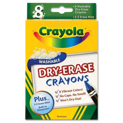 Dry Erase Crayons, Assorted, 8 per Pack (Set of 2) CYO985200