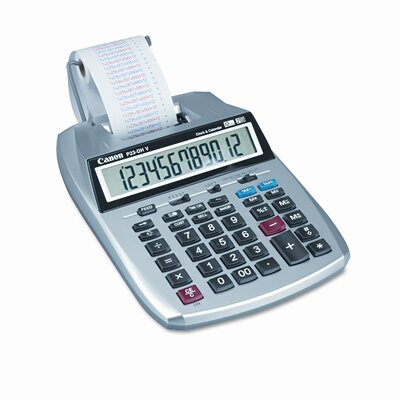 P23-DHV2 Desktop Calculator, 12-Digit LCD, Two-Color Printing, Purple/Red