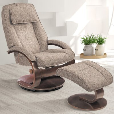 Flathead Lake Teatro Manual Swivel Recliner With Ottoman Upholstery: Graphite